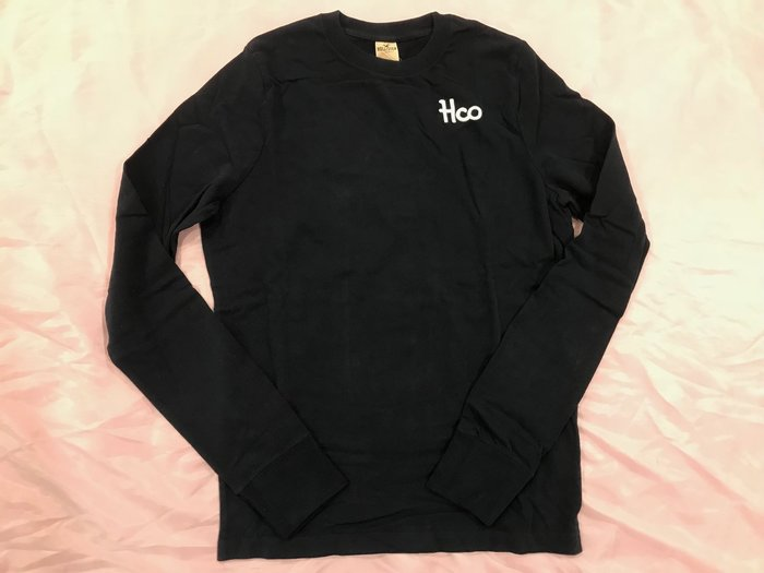 【天普小棧】HOLLISTER HCO圓領素面長T 長袖T恤  刺繡logo 深藍色 L/XL號