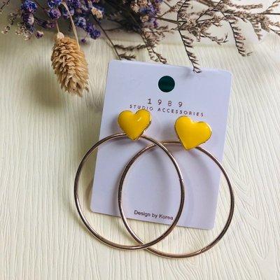 『小倆口』黃色愛心大圈圈造型耳環