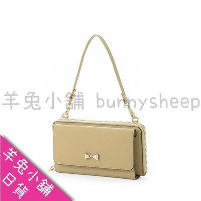【駝色】【日本cache cache三用3way蝴蝶結長夾包】羊兔小舖 日貨 皮夾 皮包 斜背包 護照包 護照夾