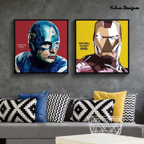波普藝術 3D英雄人物裝飾畫 鋼鐵俠 蝙蝠俠 閃電俠 美國隊長 海報畫 客廳卧室掛畫 卡通電影動漫 宥薰設計家