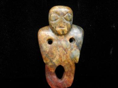 【黛玉珍藏】早期舊藏 和闐玉 青玉 老玉 『老玉 神人形 』W32