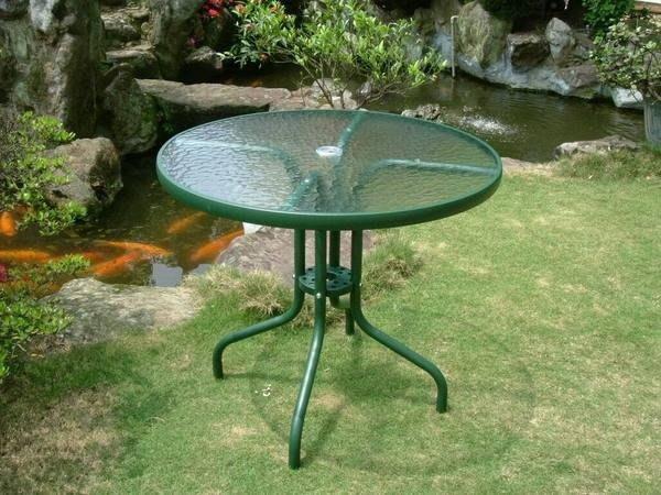 [兄弟牌休閒傢俱]80cm玻璃庭院圓桌-綠色,5MM安全玻璃~庭園休閒桌椅優雅風情~~Brother !!