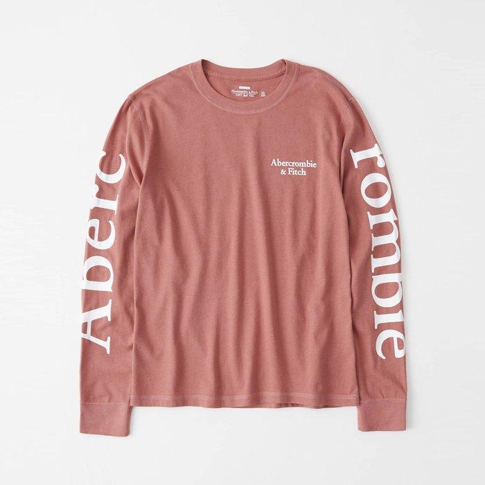 【Abercrombie&Fitch】【A&F】【零碼S】AF女款長袖T恤左印字雙臂印大字粉 F02191212-59