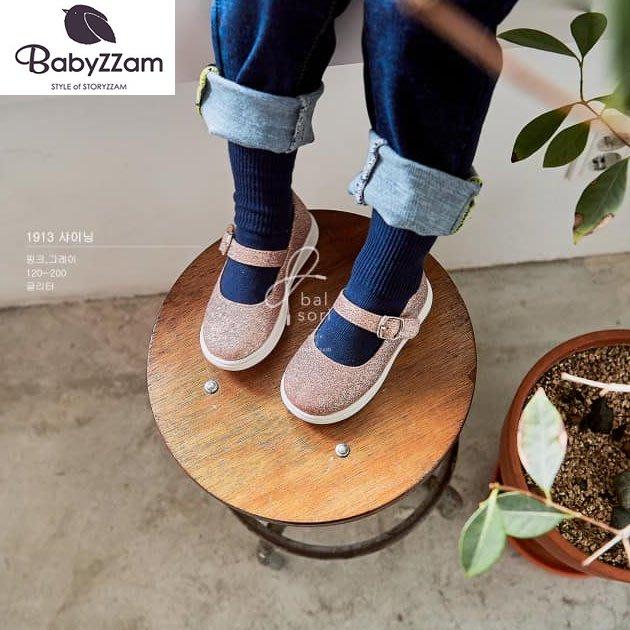 『※妳好,可愛※』妳好可愛韓國童鞋 BABYZZAM~正韓 閃亮休閒鞋 魔鬼氈休閒鞋 韓國女童鞋