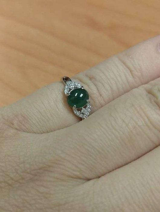 天然緬甸翡翠A貨~綠蛋戒面~ S925銀鑲嵌 活圍戒指