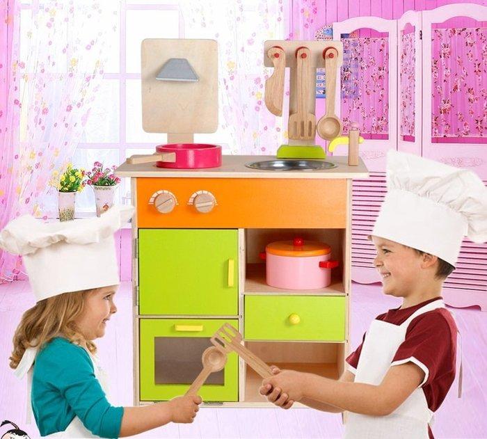 最新款~實木製~高仿真豪華彩色大型廚房組~品質超優~仿真家家酒玩具~◎童心玩具1館◎