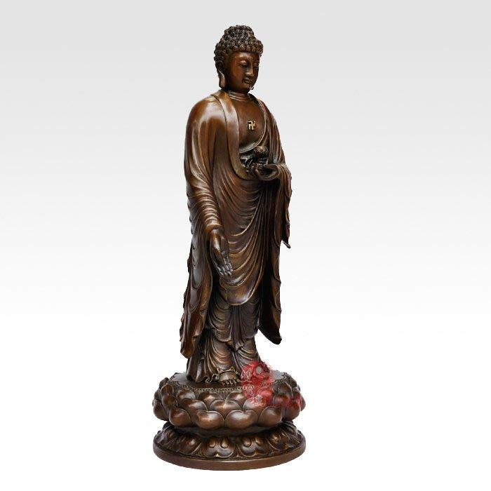 【凡了居】單只 純銅佛像阿彌陀佛擺件一佛二弟子阿難迦葉銅佛佛教工藝品 雙福661