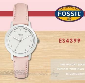 CASIO 時計屋 FOSSIL手錶  ES4399 甜美指針女錶 皮革錶帶 白色錶面 防水 (另ES4378)