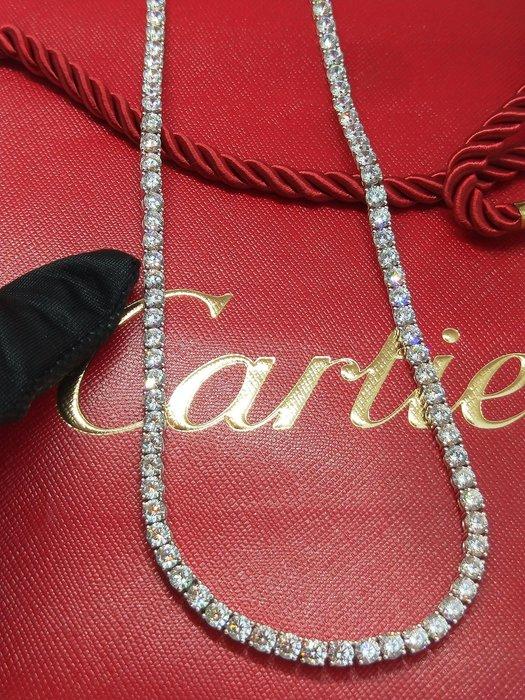 45公分0.5克拉鑽石滿鑽珠寶項鍊高碳鑽石項鏈925純銀厚鍍爪鑲高檔飾品仿真鑽石鉑金真鑽質感不扯衣物正品華麗宴會莫桑鑽寶特價出清保證精品