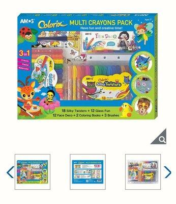 【多娜代購】Amos 多用途蠟筆3件組/旋轉蠟筆18色1組、玻璃彩繪蠟筆12色1組、人體彩繪蠟筆12色1組/著色本4種款式隨機出貨2 本、筆刷3支/好市多代購
