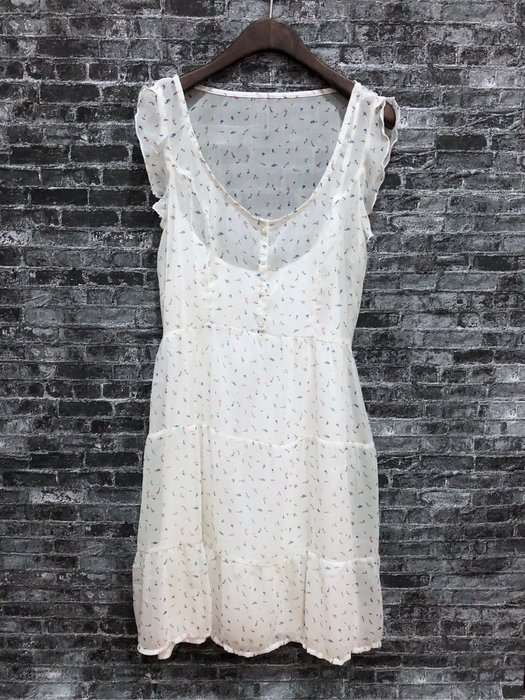 Maple麋鹿小舖 Abercrombie&Fitch * AF 淺色花花雪紡洋裝 * ( 現貨M號 )