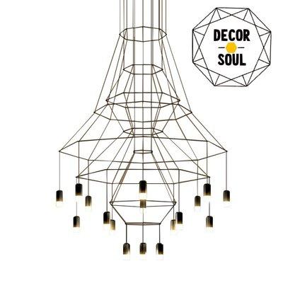 DS北歐家飾§ loft工業風 平面幾何圖型造型20頭吊燈LED 美式簡約現代酒吧餐廳裝潢設計師兒童房創意吧檯長款吸頂燈