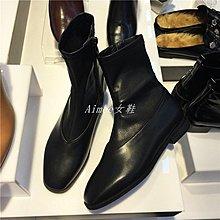 Empress丶韓國東大門進口圓頭拼接側拉鏈黑色平底休閒中筒馬丁靴平跟短靴女