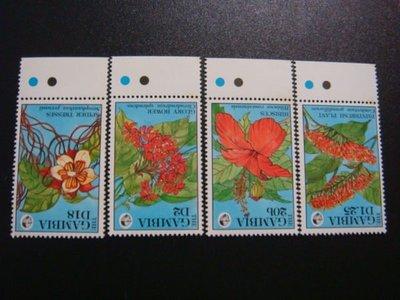 【大三元】非洲郵票-甘比亞-G60a各國動植物專題-花-新票四全1套-原膠