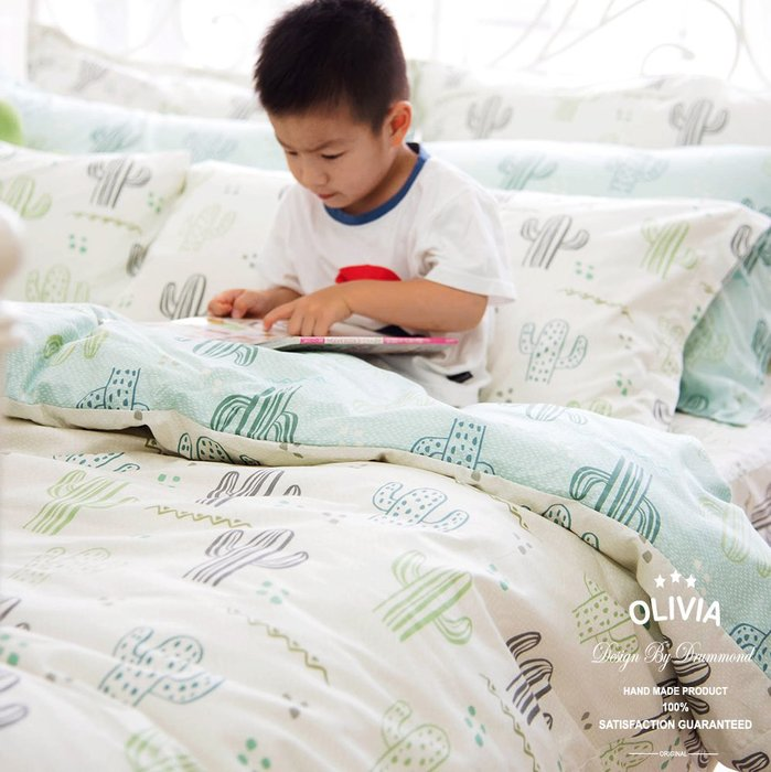【OLIVIA 】 DR312 仙人掌 黃 標準雙人鋪棉床包兩用被套四件組 全鋪棉款 【歐枕】