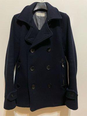 Hare 雙排扣 大衣 短版 海軍藍 S號