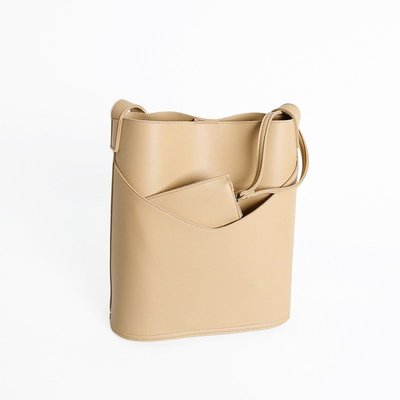 SeyeS 街頭簡約隨興時尚感精緻弧形裁邊子母桶包