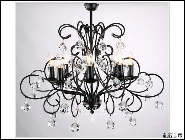凱西美屋 美式家居經典鍛鐵水晶吊燈8燈 鍛鐵水晶八燈 複刻進化版