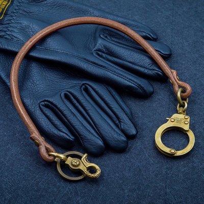 造夢師 手工製作  阿美咔嘰 復古 養牛 純黃銅 手銬 牛皮皮繩財布鏈 鑰匙鏈 褲鏈 腰鍊