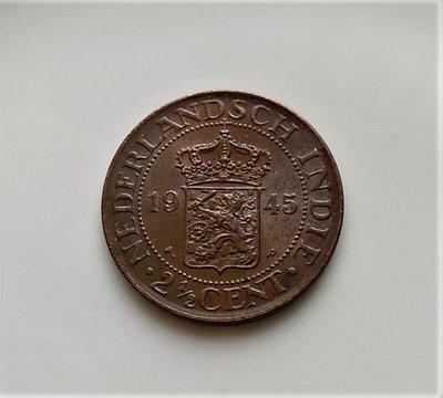 1945 年 荷屬 東印度 海峽 殖民地 威廉敏娜 2½ Cent 原光 美品 大型 古銅 錢幣