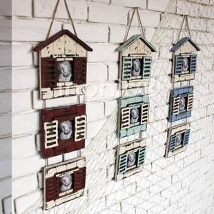 INPHIC-美式鄉村 地中海風格裝飾擺飾 實木仿舊相架三連房子壁飾相框