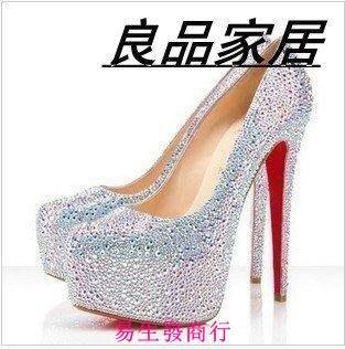 【易生發商行】明星同款水晶鞋水鑽厚底高跟鞋紅色婚鞋單鞋紅底新娘鞋水鉆婚防F6167