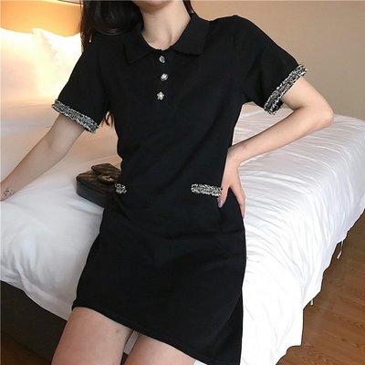 時尚女裙  夏季新款黑色小香風復古連衣裙中長款高腰圓領套頭短袖裙子女