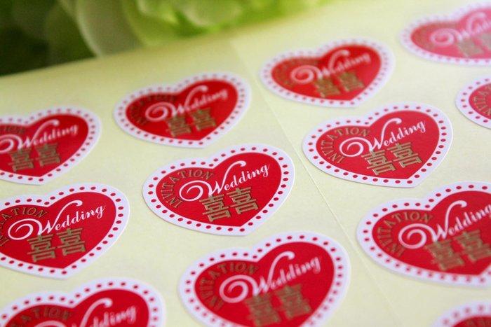 『潘朵菈精緻婚卡』※貼紙‧紅色愛心款※另有高質感喜帖信封※貼紙編號:T-001