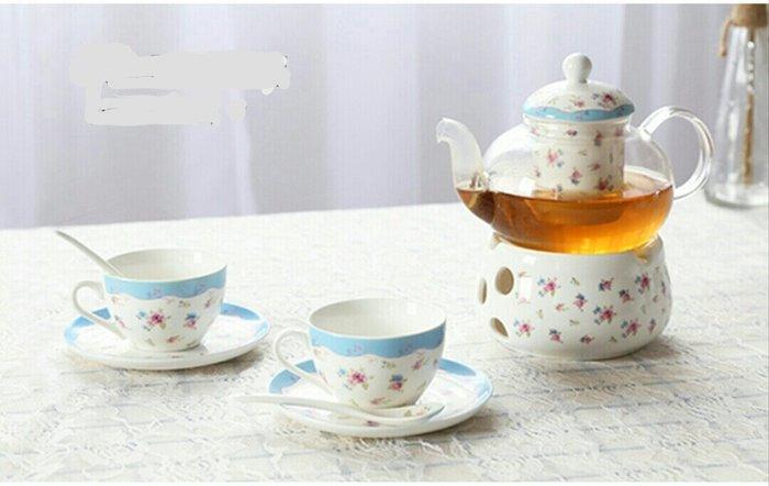 下午茶系列清晰藍小紅玫瑰組一壺一座二杯二盤禮盒組【 蘇菲亞精品傢飾】