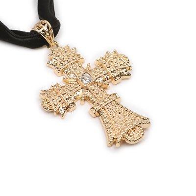 項鍊 合金 鎖骨鍊-歐美十字架鑲鑽生日情人節禮物女飾品73uz17[獨家進口][米蘭精品]
