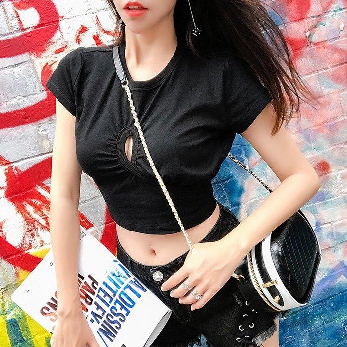 《巴黎拜金女》高腰短款小心機T卹性感設計感簡約顯瘦透氣上衣