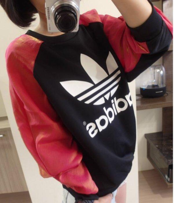 全新轉賣Adidas Originals 愛迪達 AA8438 Rita Ora 紅黑 星際穿梭 長袖 大學t 孫尤安