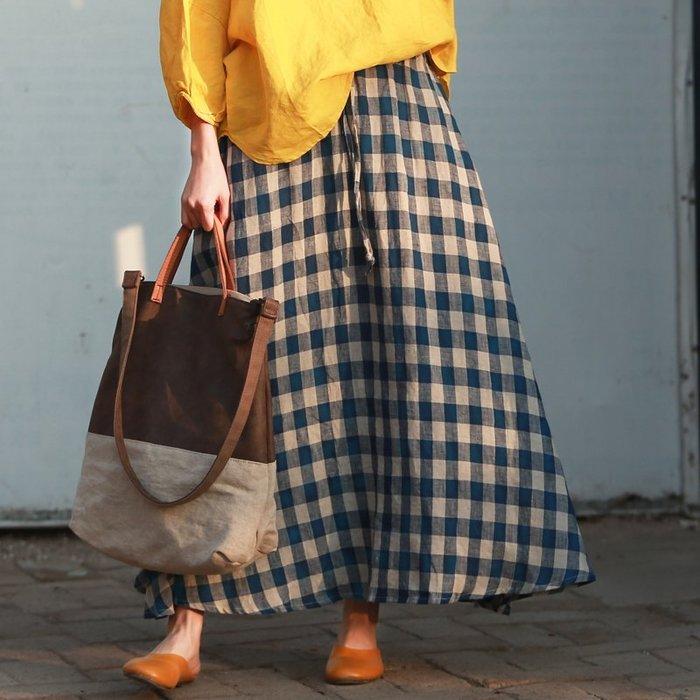 【鈷藍家】棉麻臆想 月島春季新款藍白格子A字長裙亞麻大格子鬆緊腰大擺半身裙