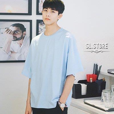 SL Store【CWT213】韓系淺藍素面落肩蝙蝠衫圓領短.淺藍/白/粉紅/L/XL/2XL