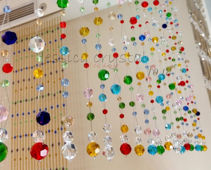 [80*60/21串]潔西卡水晶 台灣製造工廠直營T048 造型彩色閃亮水晶珠簾 水晶隔屏 玄關化煞