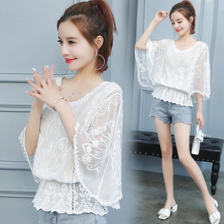 雪紡很仙的上衣女夏2019春裝新款超仙顯瘦洋氣小衫收腰蕾絲蝙蝠衫