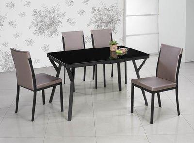 【南洋風休閒傢俱】餐桌系列 -黑色12mm強化玻璃造型長方桌 時尚餐桌 一桌四椅  (SB356-1)