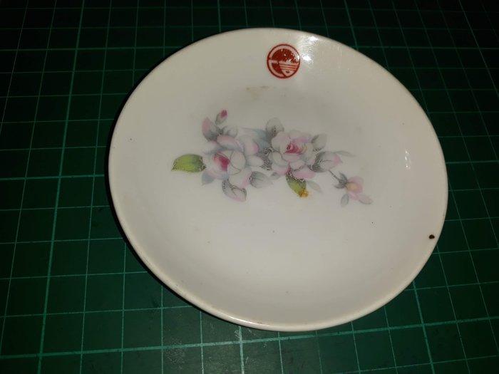 早期懷舊收藏《金合義製 小碟 醬油碟 小花 一信合作社》直徑9.5cm 有黑點【CS超聖文化讚】