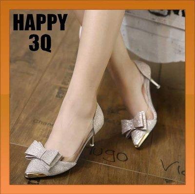 蝴蝶結金蔥閃亮淺口性感高跟細跟涼鞋高跟鞋-銀/黑/香檳34-40【AAA0852】預購
