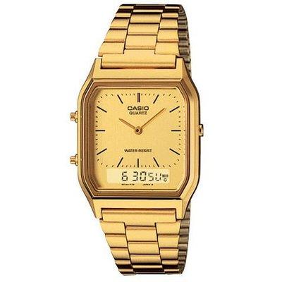 CASIO卡西歐歷久不衰熱銷錶款經典復古潮流金雙顯男錶公司貨(AQ-230 GA- 9D)
