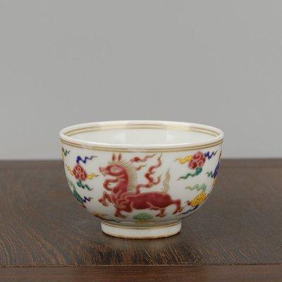 ㊣姥姥的寶藏㊣大明宣德年制五彩描金海馬紋品茗杯主人杯功夫茶杯酒盃