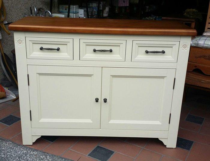 美生活館 全新鄉村風家具 半實木 萊茵 雙色 三抽兩門 餐櫃 碗盤櫃 收納櫃 玄關櫃