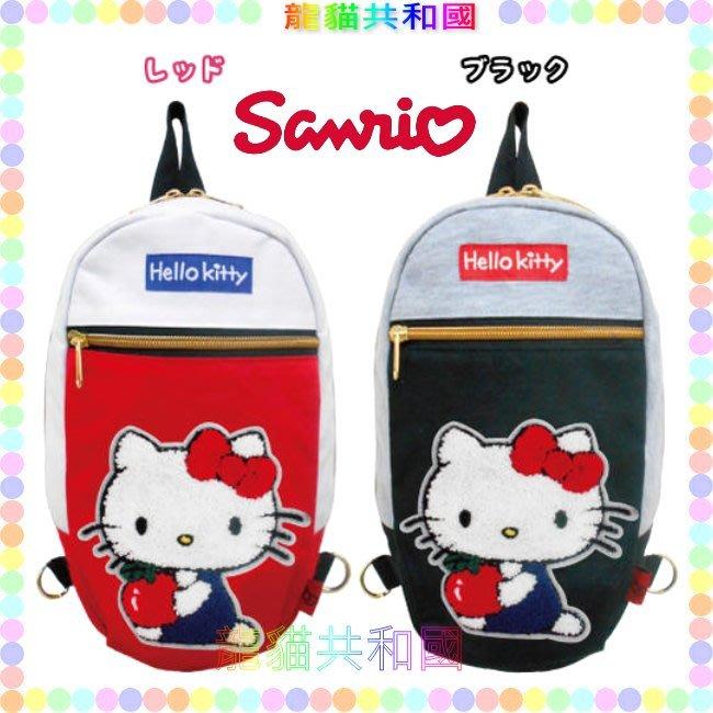 ※龍貓共和國※日本進口《SANRIO三麗鷗HELLO KITTY凱蒂貓 帆布刺繡紅藍款 後背包 單肩背包包》生日情人禮物