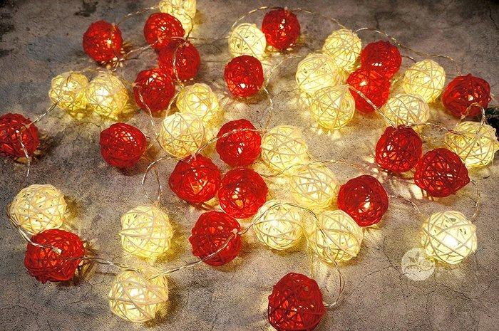裝飾燈串_米紅藤球40顆(電池)4米_B107-003◎串燈.燈具.藤球.米色.紅色.裝飾燈.布置.裝飾