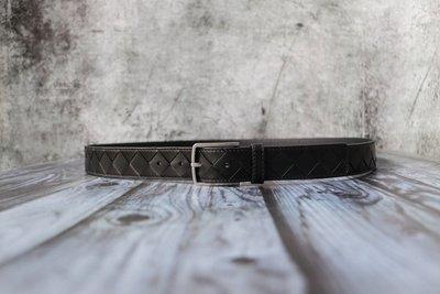 《編織之王》低調奢華義大利純手工編織小牛皮皮帶大格編織3.0cm