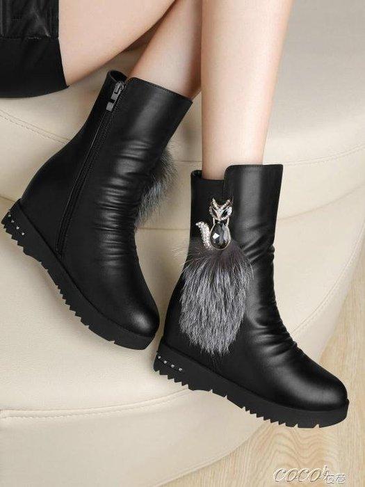 「免運」中筒靴 雪地靴女鞋子中筒靴冬季新款韓版百搭加絨內增高平底皮面短靴 『菲菲時尚館』