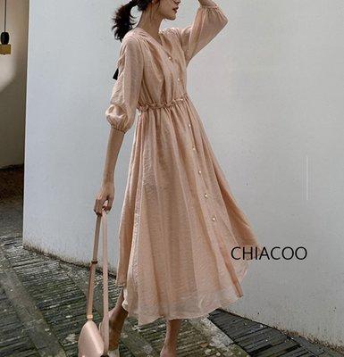 CHIACOO歐美 韓國 復古 天絲 亞麻 燈籠袖 v領 珍珠釦 長版 襯衫 洋裝 長裙 連身裙 渡假 度假 favvi