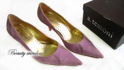*Beauty*a.testoni 紫色麂皮高跟鞋 卯釘款 37.5 JA 原價19800元