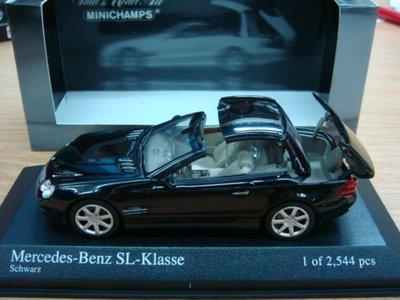 MINICHAMPS  Mercedes-Benz SL-klass 2001 Black ~俗賣~出清