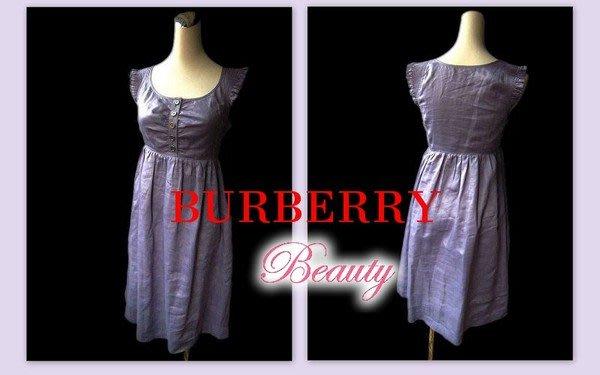 *Beauty*BURBERRY LONDON系列 薰衣草百摺荷葉紫色洋裝 WE11